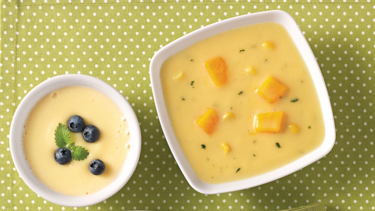 Maiscremesuppe mit eingelegten Kürbiswürfeln