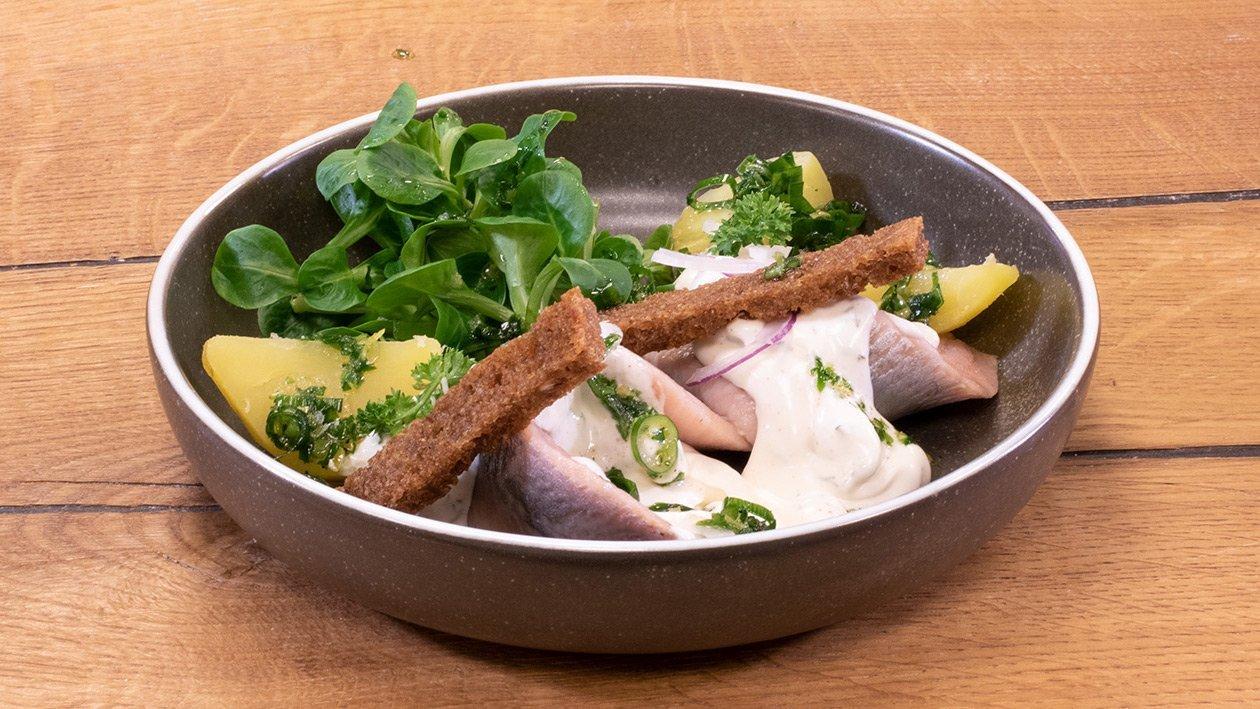Matjes mit Feldsalat und Röstbrotstreifen