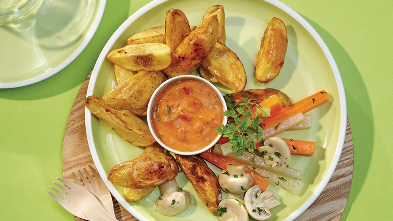 Ofenkartoffeln mit buntem Gemüse