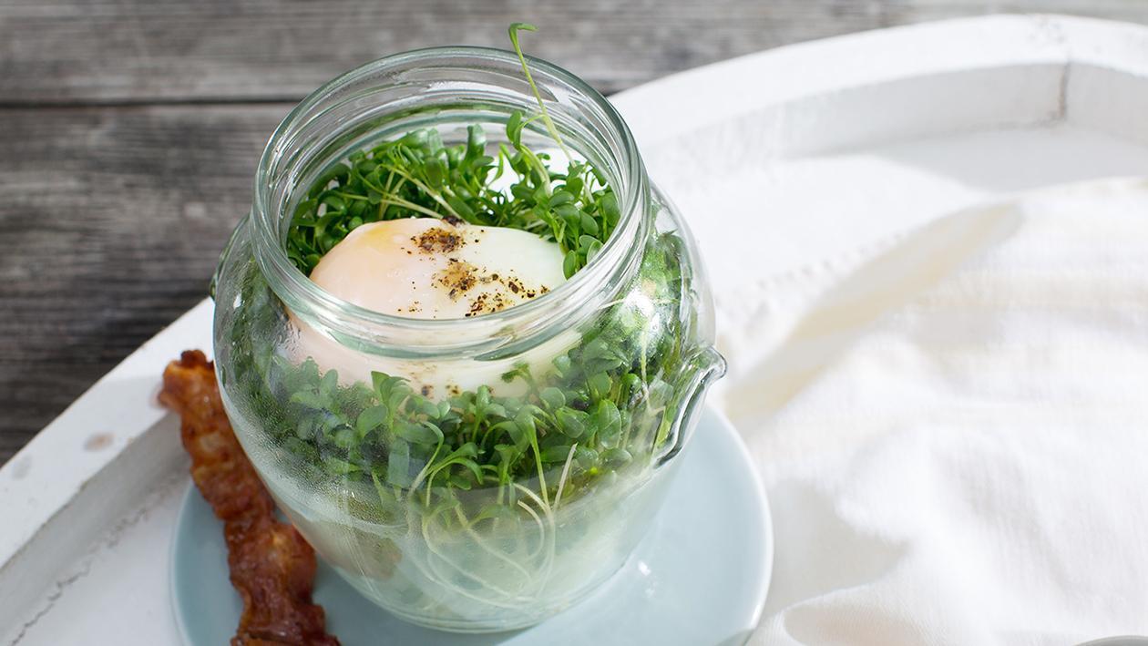 Pochiertes Ei mit Kresse und Speck