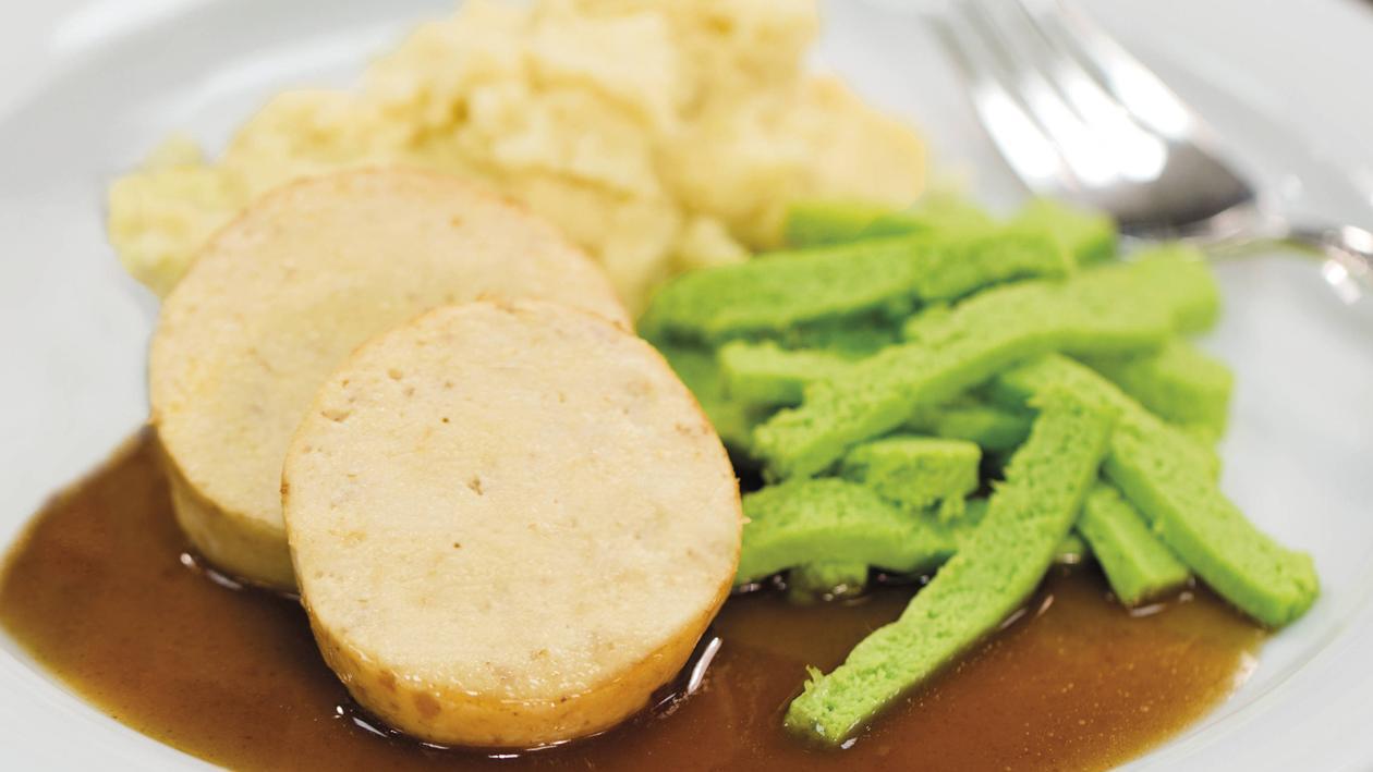 Pürierte Kost Kasseler mit grünen Bohnen und Kartoffelpüree