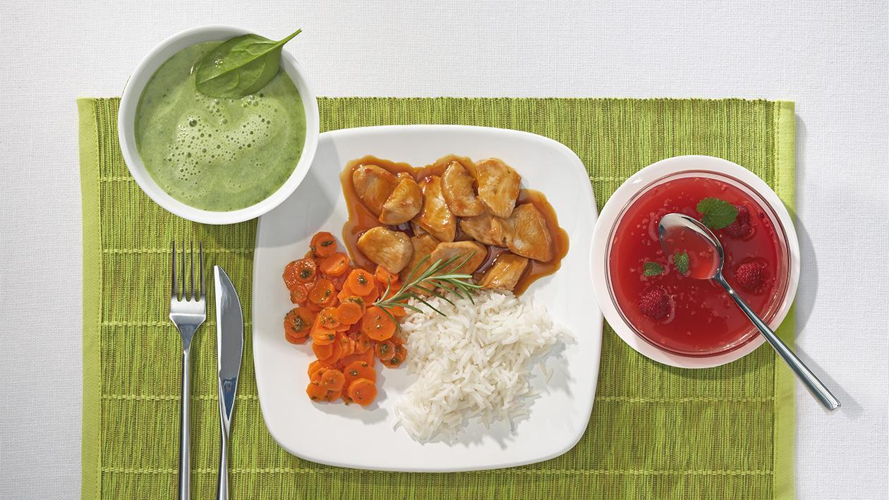 Putengeschnetzeltes in fruchtiger Ingwerjus, Basmatireis und Vichy-Karotten
