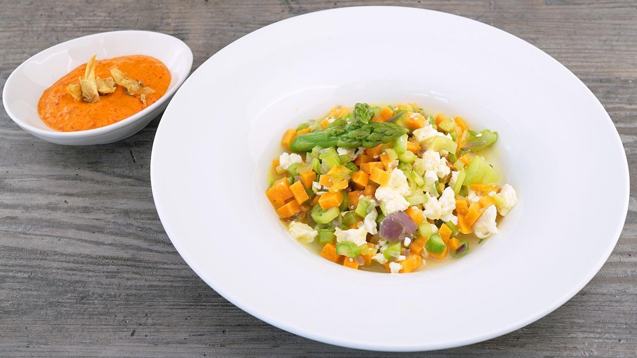 Rissoto von grünem Spargel, Süßkartoffeln und Frühlingszwiebeln