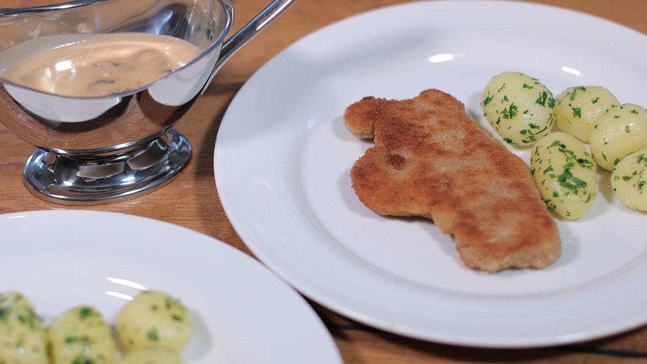 Schnitzel mit Champignonsauce und Petersilien Kartoffeln