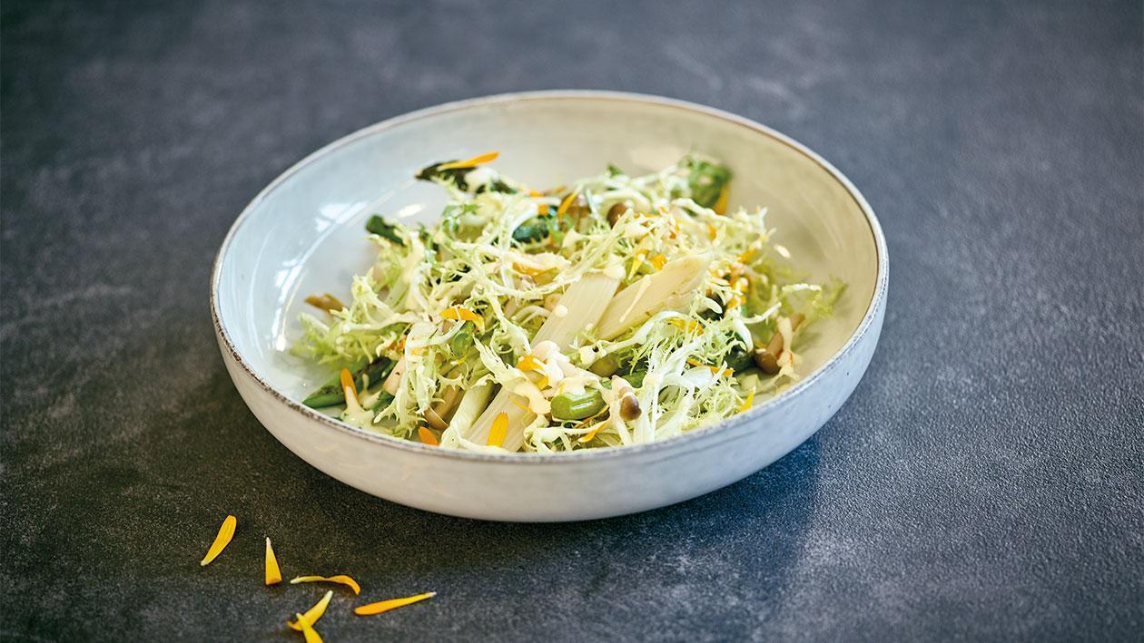 Spargelsalat mit Holandaise-Zitronendressing