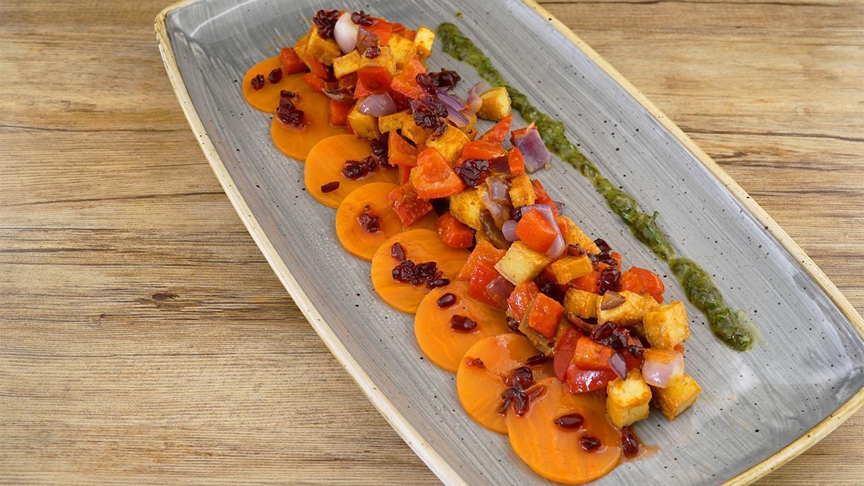 Süßkartoffel, Tofu und Paprika mit Berberitzen