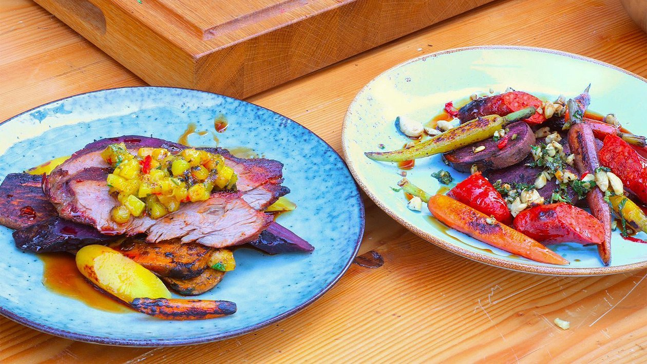 Sweet Potato Steak / Carrots / Mango Salsa