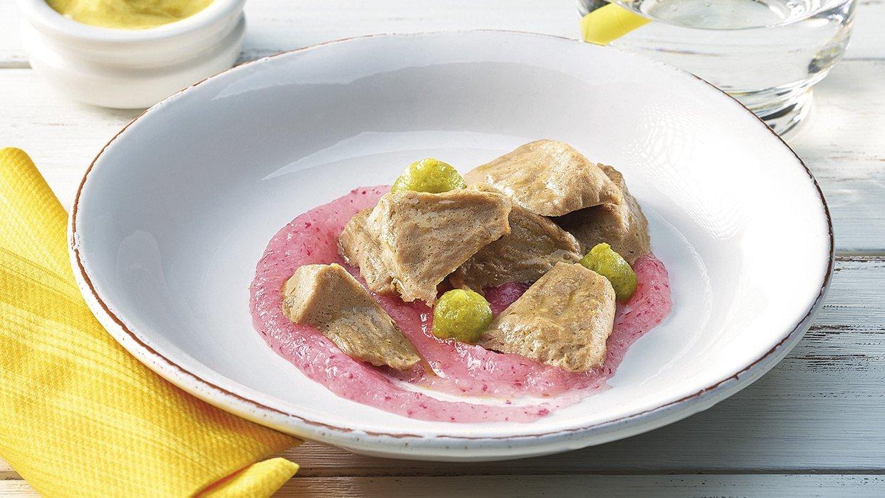 Tafelspitzsalat mit Radieschencreme in pürierter Form