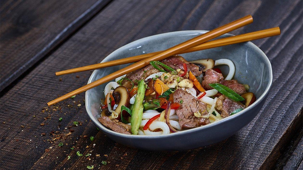 Udon Suppe mit Rindfleisch