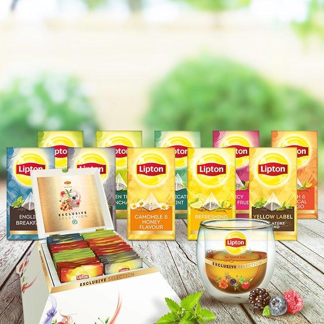 Πλήρες Σετ Τσάι Lipton Exclusive Selection (δώρο 12 τμχ κούπες & μια 10 θέσια πυραμίδα) -