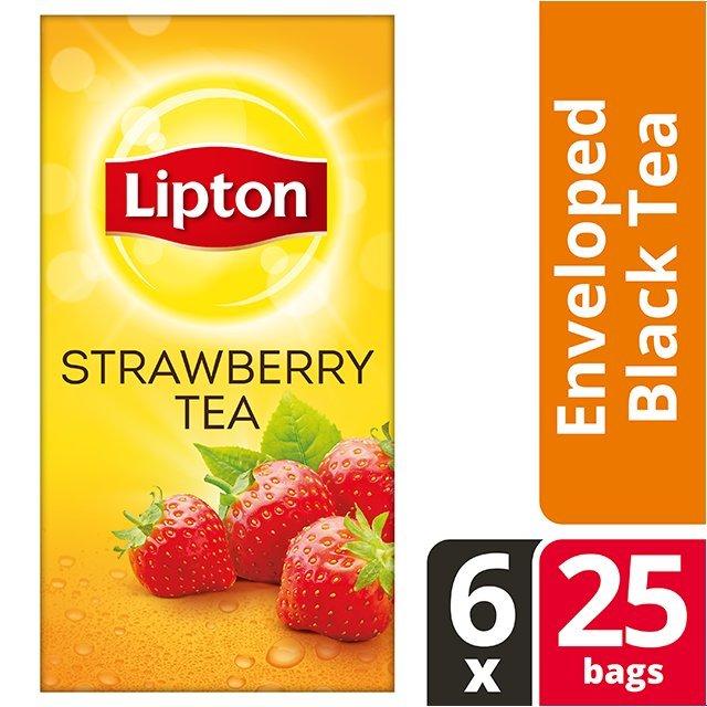 Lipton Μαύρο Τσάι Φράουλα 25 Φακελάκια