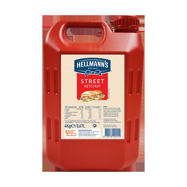 Hellmann's Street Κέτσαπ 4 kg - Γλυκιά κέτσαπ με γεύση τομάτας και πλούσιο χρώμα