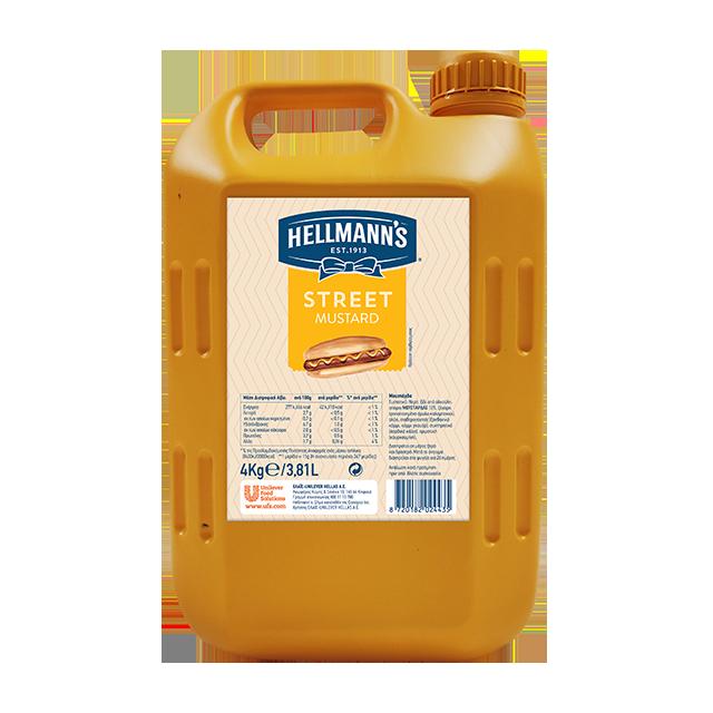 Hellmann's Street Μουστάρδα 4 Kg - Απαλή, κίτρινη μουστάρδα κατάλληλη ως συστατικό ή συνοδευτικό