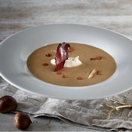 Σούπα Κάστανο με Μπέικον, Κρέμα Τυρί και Ξινομυζήθρα