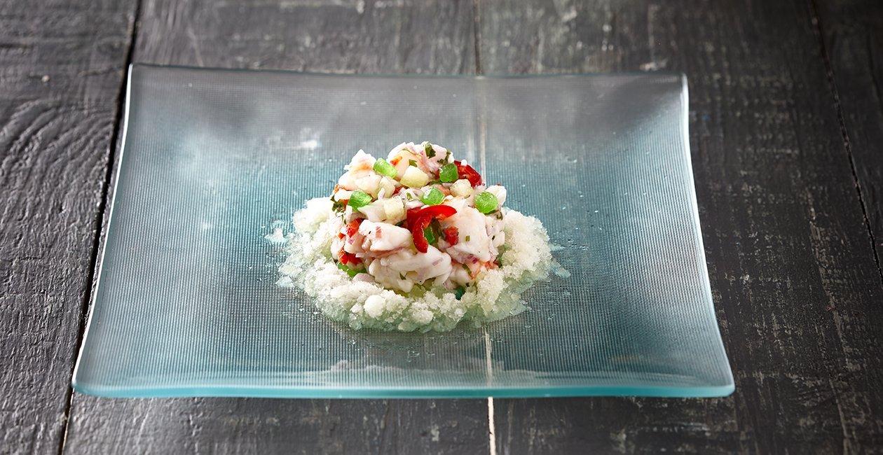 Γαρίδες Ceviche Αρωματισμένες με Πεπόνι και Γρανίτα από Πεπόνι