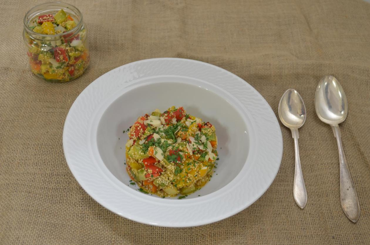 Ψητά λαχανικά με Κινόα αρωματισμένα με Vinaigrette Βασιλικού