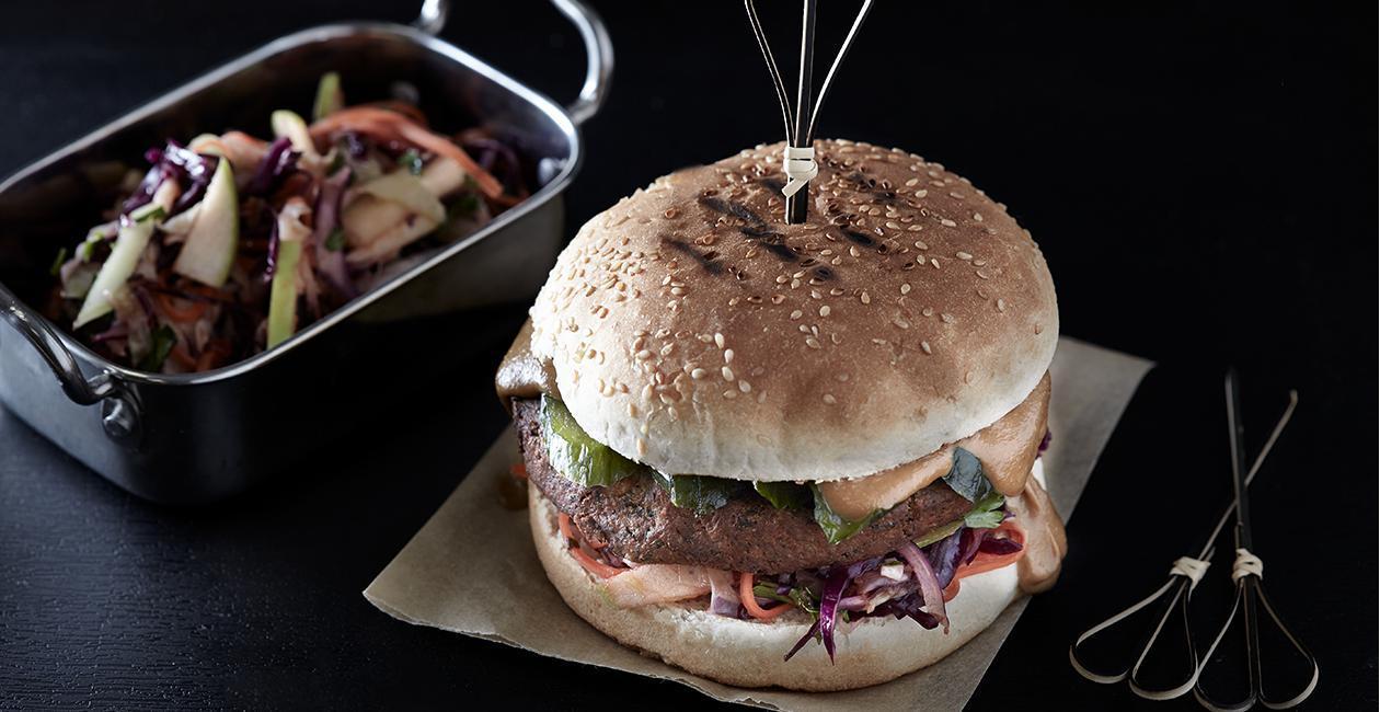 Burger Φαλάφελ με Γλυκιά Σάλτσα Σόγιας και Ταχίνι