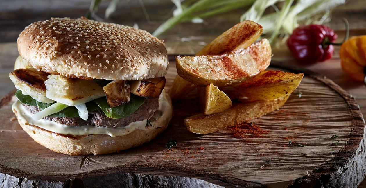 Cheeseburger με Ψητές Αγκινάρες