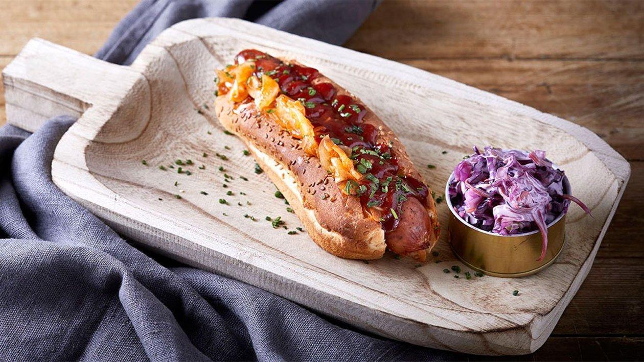 Hot Dog με Βουβαλίσιο Λουκάνικο Μοτσαρέλα αρωματισμένο με Μπάρμπεκιου