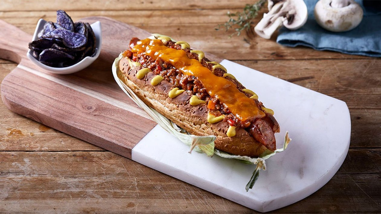 Hot Dog με Μοσχαρίσιο κιμά και Λιωμένο Τσένταρ