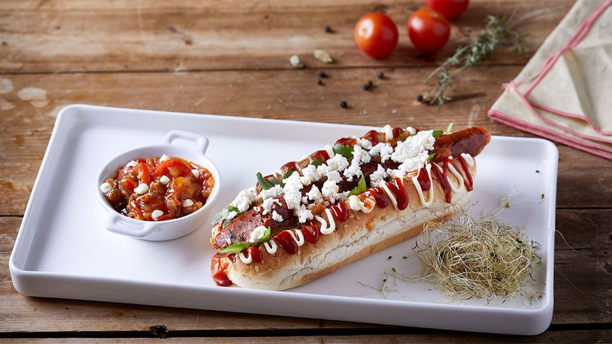 Hot Dog με Χωριάτικο Λουκάνικο