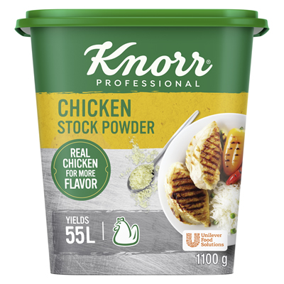 Knorr Chicken Stock Powder (6x1.1kg) - Knorr Professional Chicken Stock Powder delivers an authentic chicken aroma and colour to every dish