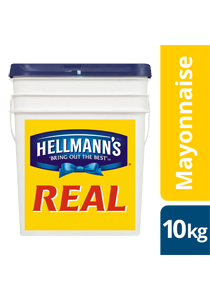 HELLMANN'S Real Mayonnaise 10 kg - The thick and creamy texture of HELLMANN'S Real holds up and won't split under pressure.