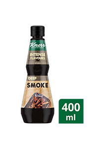 KNORR Intense Flavours Deep Smoke 400 ml - Warm BBQ profile of roasted onion and sugar smoked over hardwood for a natural, charred smokiness without a BBQ smoker.