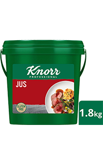 KNORR Jus Gluten Free 1.8kg - KNORR Jus Gluten Free is the perfect companion for your premium dishes. It delivers roasted and caramelised flavours with a superior rich meaty taste.