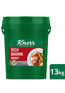 KNORR Rich Brown Gravy Gluten Free 13kg - Gluten-free and vegetarian, this trusted, all-rounder gravy goes well with everything from steaks, pies and casseroles.