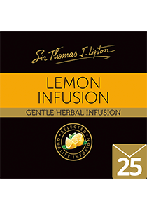 SIR THOMAS LIPTON Lemon Envelope Tea 25's - This caffeine-free drink with lemony zing is individually sealed for a premium and fresher tea.