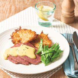 Corned Beef and Potato Hash with Creamy Mustard Sauce
