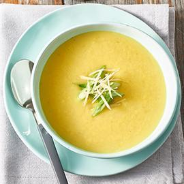 Cream of Chicken Soup with Turmeric, Ginger and Shallots