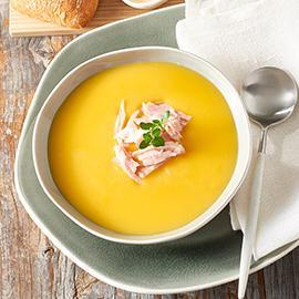 Cream of Pumpkin Soup with Smoked Ham and Roasted Garlic