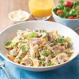 Creamy Pasta with Tuna, Peas and Mushrooms