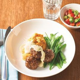 Dijon Lamb Meatballs and Minted Hollandaise Sauce