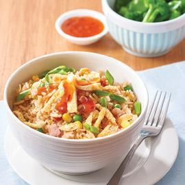 Fried rice with ham and vegetables