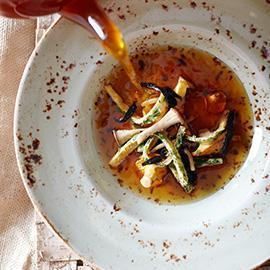 Mushroom Broth with Herb Crepes