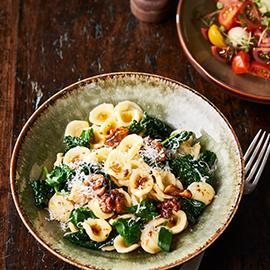 Orecchiette with Greens, Walnuts and Brown Butter