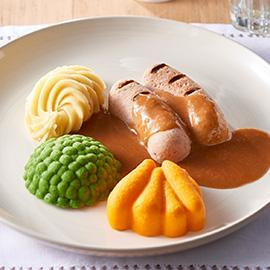 Pureed meal: Sausages, Mash & Gravy