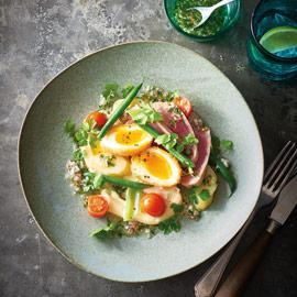 Seared Tuna with Pickled Tomatoes and Crumbed Eggs