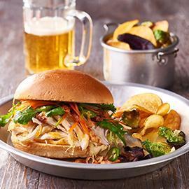 Shredded Chicken Sandwich, Chilli Jam Mayo, Viet Slaw