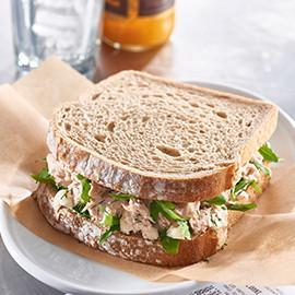 Spring Water Tuna on Rye with Fresh Dill, Mayo and Rocket