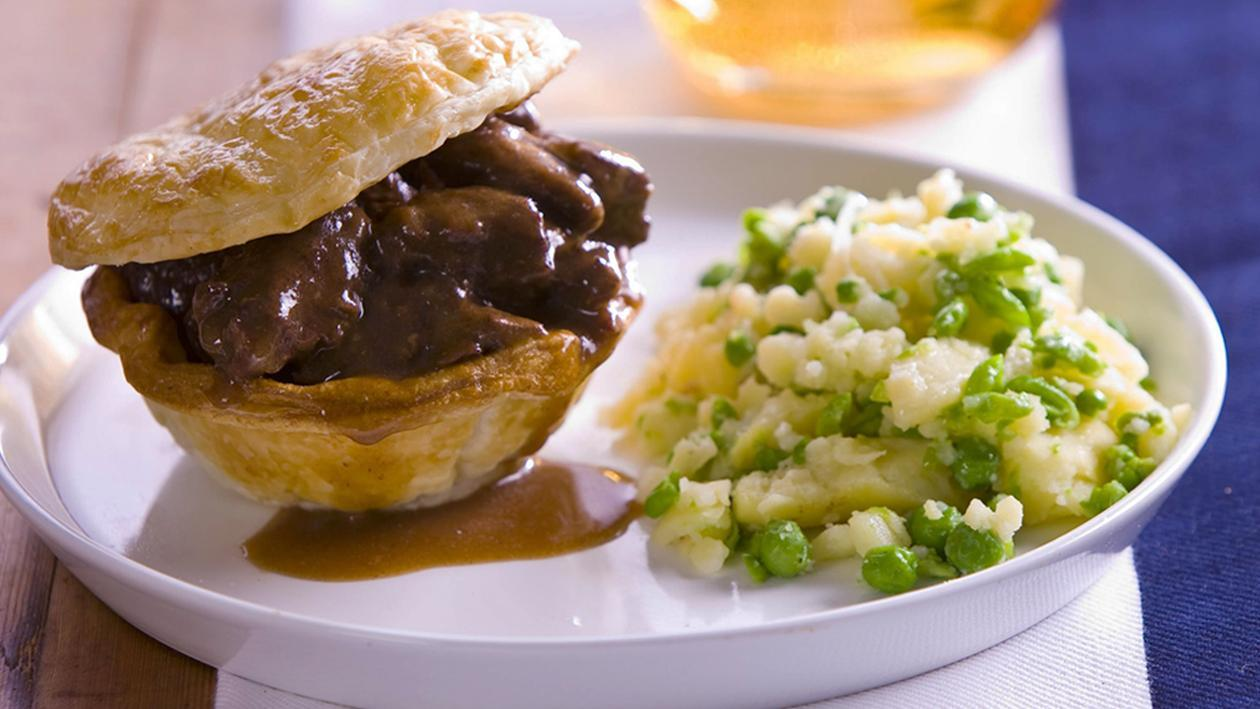 Beef Bourguignon Pies with Pea and Potato Crush – Recipe