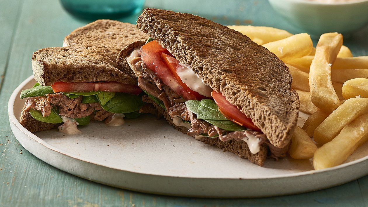 Braised Beef Sandwich with Roasted Tomato Aioli – Recipe