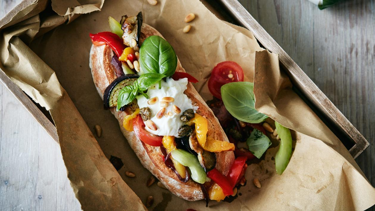 Ciabatta with Caponata and Burrata – Recipe