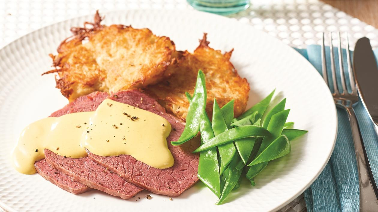 Corned Beef and Potato Hash with Creamy Mustard Sauce – Recipe