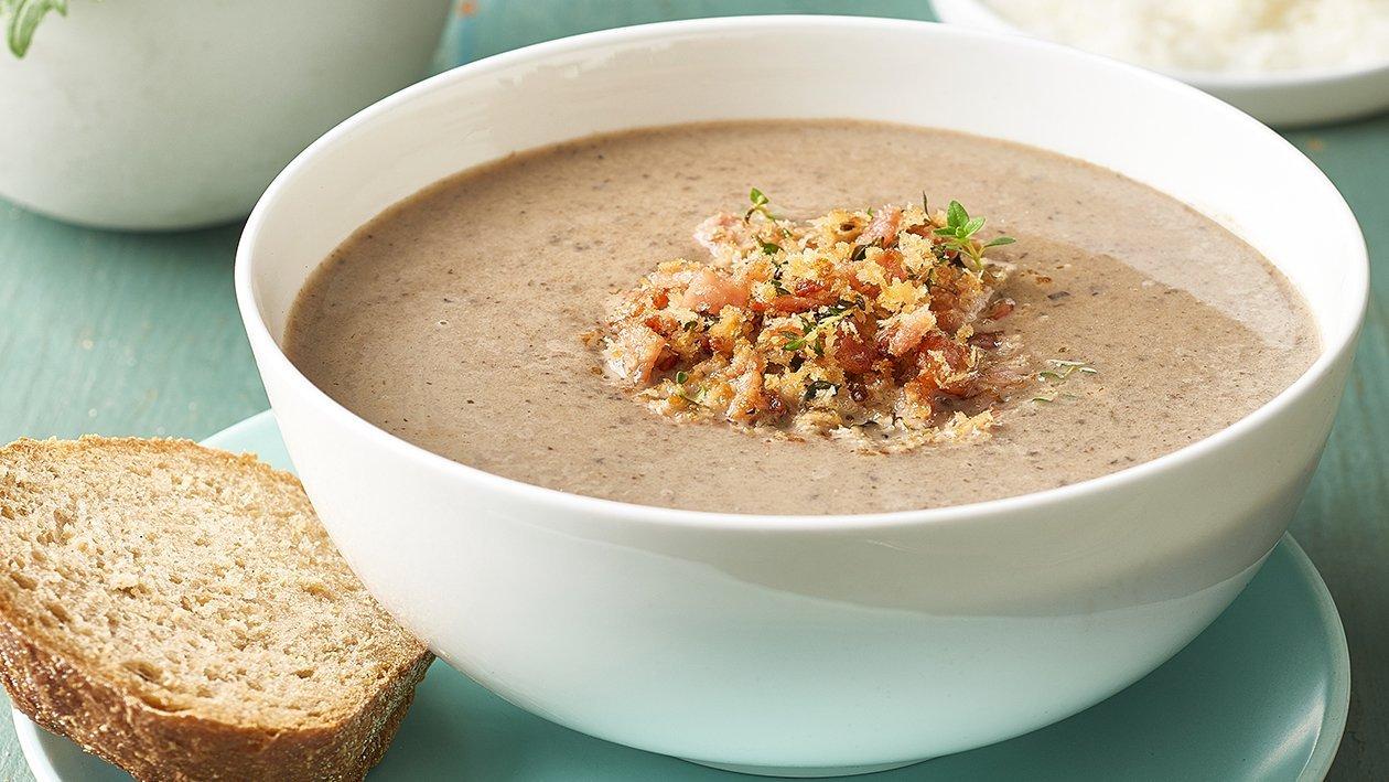 Cream of Mushroom Soup with Bacon Pane Gratata – Recipe