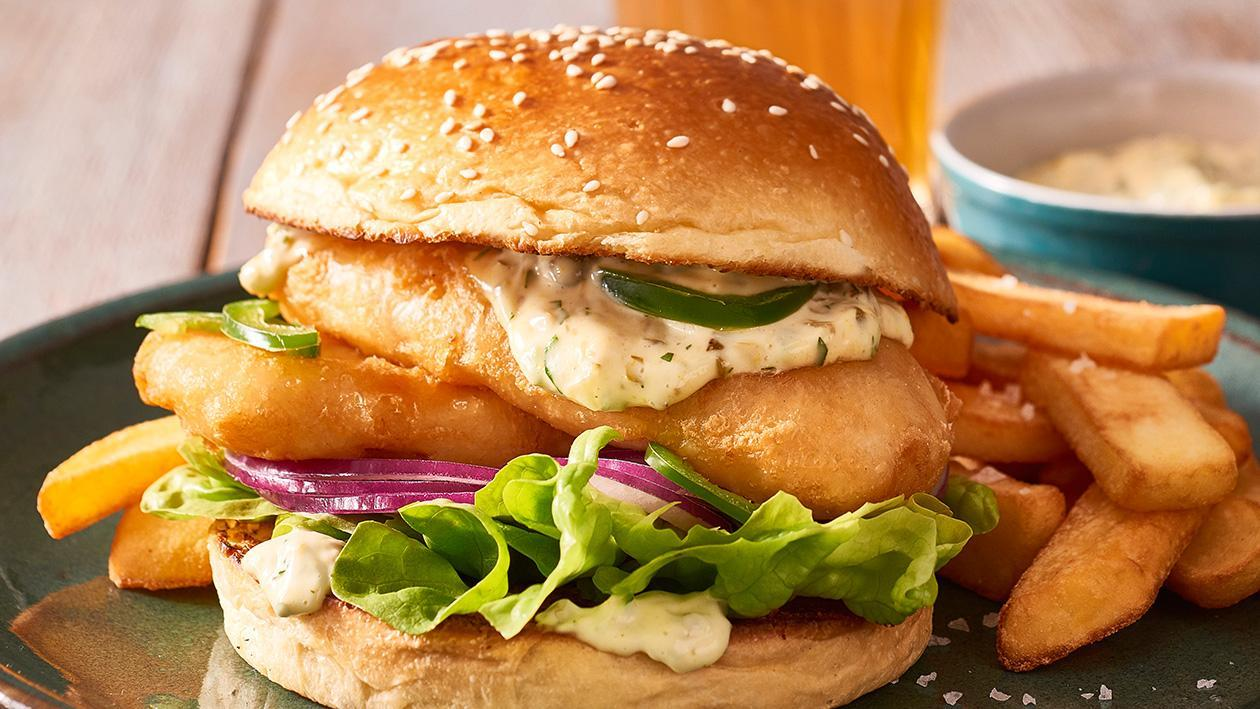 Crispy Fish Burger with Jalapeno Tartare Sauce – Recipe