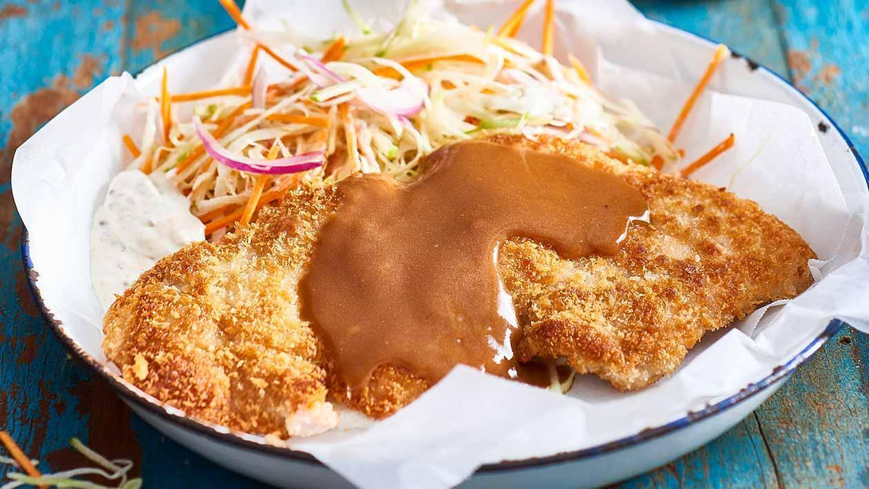 Crumbed Pork Schnitzel, Mustard Slaw, Apple Mustard Gravy – Recipe